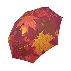 EnnE Autumn Leaves Fall Maple Umbrella Rain Windproof Compact Automatic Foldable Travel Umbrella UV Protection