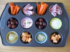 muffin tin meals. My kids love it when we do this. I need to get some little tins though cause it's hard to fill 12 holes for a 2 year old!