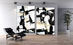 Set Of 2 Large Black and white Contemporary by ModernArtHomeDecor