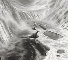 Charcohl on mylar, post card sized drawings by Hilary Brace. There is an visionary feel to these cloudy drawings.