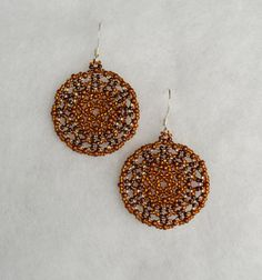 Bronze Mandala Beaded Earrings