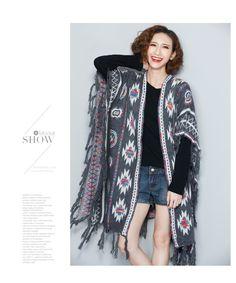 歐美秋裝新品大碼寬松針織披肩外套女中長款流蘇毛衣蝙蝠衫-淘宝网全球站