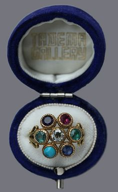 VICTORIAN 'Dearest' Ring  Gold Diamond Emerald Amethyst Ruby Sapphire Turquoise H: 1.7 cm (0.67 in)  Ring Size:  |UK:K½|  |US:5.5|  |EU:50.6|  |Asia:9.5| British, c.1865