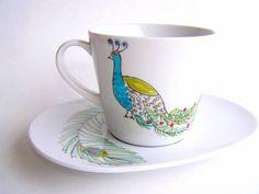 Peacock tea cup decor gift