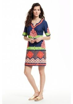 Neoni Embroidered Cotton Shift Dress