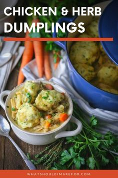 Homemade Chicken And Herb Dumplings Can Be Made In A Crockpot, Instapot Or On The Stove. On the off chance that You Love Biscuits, You'll Love This Easy, Southern Comfort Food Dish. A Dinner Meal Idea Simple For Beginners Or Cooks On A Budget Spicy Recipes, Chicken Recipes, Cooking Recipes, Yummy Recipes, Herb Recipes, Chicken Ideas, Crockpot Recipes, Healthy Family Dinners, Quick Weeknight Meals