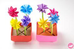 Origami Flower Pot & Stem Holder Tutorial