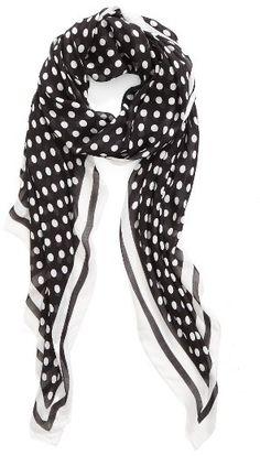 Womens Scarf Pashmina Wrap Black White Polka Dot Spots  Monochrome Look