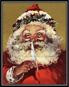 Vintage Christmas postcard of Santa Claus holding a feather to his nose Stock Illustration Santa Claus Images, Vintage Santa Claus, Vintage Santas, Santa Clause, St Claus, Vintage Christmas Images, Victorian Christmas, Christmas Postcards, Vintage Holiday
