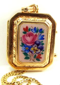 """Stunning Vintage 18ct Gold OPALESCENT Enamel Locket & 24"""" 'S' Chain from m4gso on Ruby Lane"""