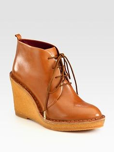Marc by Marc Jacobs Leather Lace-Up Wedge Ankle Boots