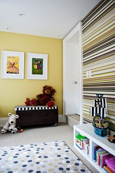 dots and stripes in a yellow playroom -Timothy Johnson Design