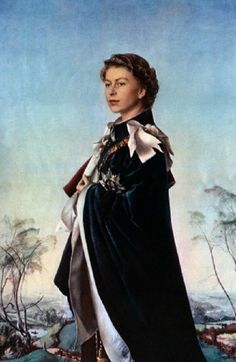 Formal portrait of Queen Elizabeth II when the queen was 29 years old in 1955, two years after she ascended to the throne.