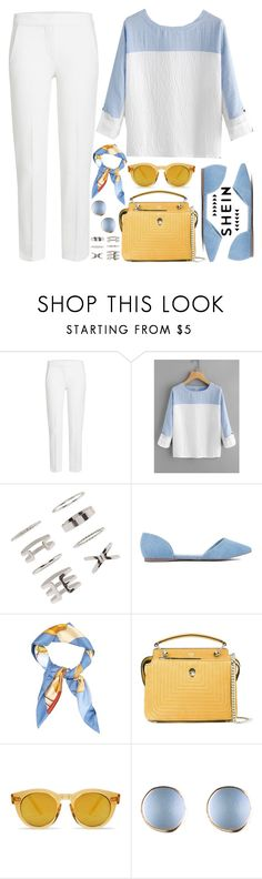 """SheIn Rolled Sleeve Blouse!"" by nvoyce ❤ liked on Polyvore featuring MaxMara, Forever 21, Hermès, Fendi, casual, chic, yellow and babyblue"