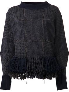 Shop Sacai peplum fringe sweater in Birba's from the world's best independent boutiques at farfetch.com. Over 1000 designers from 60 boutiques in one website.