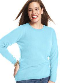 Charter Club Plus Size Cashmere Crew-Neck Sweater