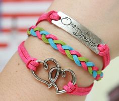 Heart Bracelet Silver Bracelet One Direction Bracelet Color Flocking Leather Friendship Figure  Infinity Charm Jewelry - Christmas - for rachel