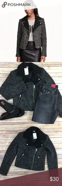 H&M wool blend biker jacket Fitted biker jacket in felted wool blend. Diagonal front zip, side pockets w/zip/ Lined. H&M Jackets & Coats