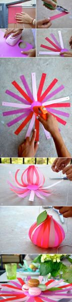 Le Frufrù: Segnaposto di carta >> the instructions are not in English, but the picture tutorial is pretty easy to follow. Punch out a circle of paper, cut a ton of strips and punch a smaller hole in one end. Glue the strips to the circle with the punched end away from the center. Thread a string or ribbon through the strips and pull them closed. Make sure to overlap the strips at the center...
