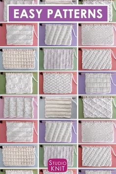Collect simple Knit Stitch Patterns with different combinations of simple knits and purl stitches. Collect simple Knit Stitch Patterns with different combinations of simple knits and purl stitches.Perfect for Beginning Knitters! Enjoy this free collection