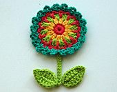Crochet Flowers with leaves, butterfly and stems -  Crochet Garden Series. $5.50, via Etsy.