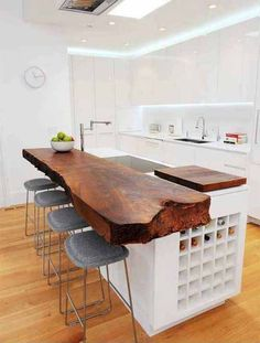 Check Out 37 Different Kitchen Island Design Ideas. A kitchen island is a piece that is necessary for cooking, it's very important that it should be comfortable in using, and this piece may make your kitchen rock. Wood Kitchen Island, Wooden Kitchen, Kitchen Islands, Lego Kitchen, Kitchen Dining, Island Design, Cuisines Design, Decor Interior Design, Home Kitchens