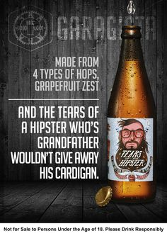 """26 August """"How to make a hipster cry"""". Garagista Beer: Tears of the Hipster — kale-infused beard wax. Grapefruit Zest, Beard Wax, Bon Iver, Great Ads, Guerilla Marketing, Direct Marketing, Creative Advertising, Guerrilla, Advertising Campaign"""