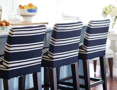 Lee Industries counter stools upholstered in Sunbrella fabric stand up to afternoon snacks and everyday dining with ease. - will use SB for kitchen stools, great for kids Kitchen Stools, Counter Stools, Bar Stools, Bar Chairs, Dining Stools, Coastal Living, Coastal Decor, Coastal Cottage, Coastal Style