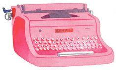 My NYC Sketchbook Caitlin McGauley Illustration Pretty In Pink, Vintage Typewriters, Vintage Suitcases, Vintage Luggage, Everything Pink, Watercolor Illustration, Watercolour Art, Vintage Pink, Pretty Pictures