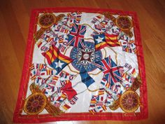 "Vintage Silk Scarf Nautical Boating Motif Ship's Wheel Compass Flags 30"" Square #Unbranded #Scarf"