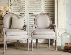 Vintage Shabby French Style Louis XVI Lavender Armchairs Pair-antique, ,bedroom, livingroom, furniture, rose, floral, crest,cabriole, elegantlilac, purple, linen, upholstered, cream, trim,nail,hand, carved,