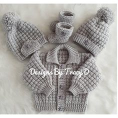Noah baby cardigan hat and booties knitting pattern 3 sizes 0 knitting pattern by designs by tracy d Designer Knitting Patterns, Knitting Patterns Boys, Baby Sweater Patterns, Christmas Knitting Patterns, Baby Hats Knitting, Baby Patterns, Free Knitting, Baby Cardigan Knitting Pattern Free, Knitting Yarn