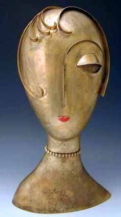 Franz Hagenauer Bronze Female Head Sculpture.