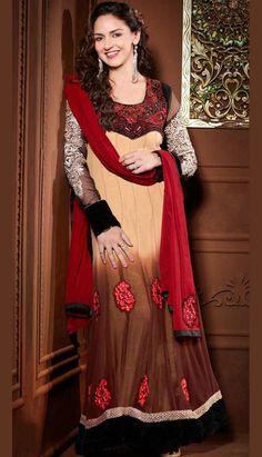 Select the Indian Bollywood Brown Georgette Churidar Kameez Anarkali Dresses Online.  #Price INR- 6882 Link-  http://alturl.com/fcesa