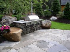 front walkway ideas with rock wall and rock columns | Northeast Landscaping - Gilford, NH - Photo Gallery - Landscaping ...