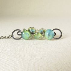 Green Lampwork Necklace Swirled Green Necklace Green by wearever, $65.00