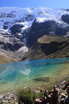 Glacial Lake along the Salkantay Trek in the Andes, Peru. https://ExploreTraveler.com