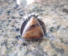 Sterling Silver Petrified Wood Ring  Size 8 1/2 by Ollieburger, $32.00