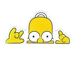 Homer Simpson Head Hide and Seek, Width 8 cm, decal sticker