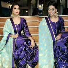 @manidrehar❤ Punjabi Fashion, Bollywood Fashion, Indian Fashion, Indian Suits Punjabi, Indian Wear, Punjabi Salwar Suits, Salwar Suits Party Wear, Dress Suits, Designer Punjabi Suits