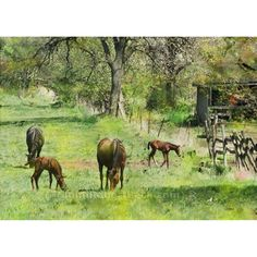 Spring Colts by John Robert Beck. This art was created in 2004. A pastoral scene of horses and colts.  ARTISTS NOTE: This piece is from my Animal series. This scene was from a farm near our old home. It was the first time these colts were out with the other horses. - J.B.