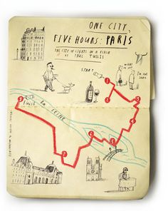Oliver Jeffers One city, Five Hours project - simple illustrations made to accompany the United Airlines magazine Hemispheres One City, Five Hours series that gives a step to step guide to how to spend a five hour layover in a city. According to Oliver Jeffers, all of his maps are geographically accurate. How could you represent 5 hours in one habitat?