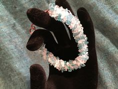 Clear quartz and apatite twisted bracelet | T's Creations: necklaces, rings, bracelets and so much more