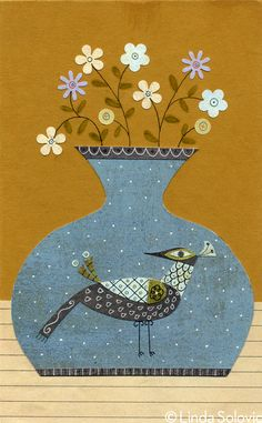 Mid Century Modern Vases and Flowers Series by Linda Solovic, via Behance