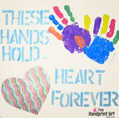 """Adorable Handprint Keepsake to go along with the cute saying, """"These Hands will Hold my Heart Forever."""" Make for Valentine's Day, Mother's Day, & Christmas."""