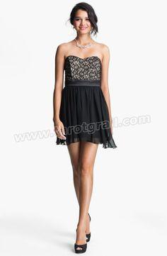 Strapless Lace & Chiffon Dress