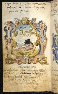 "crow feeds on/pecks out eyes of corpse -- emblem from the album amicorum of Friedrich IV, Kurfurst von der Pfalz. Heidelberg, cod. pal. ger. 120, f.96r, dated 1588. Motto: [QV]ID VIVIS PARASITE FACIS. cf. La Perriere, ""Theatre des bons engins"" (Paris 1539), emblem 45. This and following via the Heidelberg Bibliotheca Palatina website"