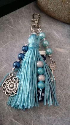 Bijoux de sac / porte clés bleu turquoise (BS-002)  Boutique…