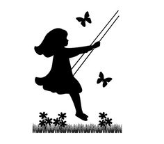 Vintage Child Swinging silhouette mural decal wall art for children's bedroom or baby girl nursery room decor. Add other matching vintage children murals. Color choices shown in photo Wall Mural measures 32 Stencils, Butterfly Nursery, Butterfly Wall, Metal Tree Wall Art, Nursery Room Decor, Nursery Décor, Silhouette Art, Ballerina Silhouette, Vintage Children