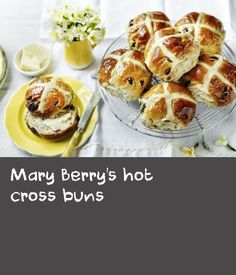 Bring the flavours of Easter to your kitchen with Mary& moreish hot cross buns.For this recipe you will need a piping bag fitted witha fine nozzle, but if you don& have a nozzle you could use a piping bag and snip the end off. Easter Hot Cross Buns, Easter Bun, Berry Wine Recipe, Piping Bag, Cress, Mary Berry, Bun Recipe, Golden Syrup, Dry Yeast